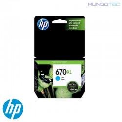 CARTUCHO DE TINTA HP 670XL CYAN UNIDAD - 1011313